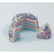 Purple And Blue Party Cake With Icing Sprinkles And 2 Slices Doll Food For Barbie Monster High Fashion Dolls
