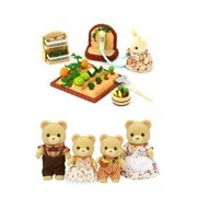2 Sylvanian Families Sets Bear Family Containing 4 Bears And Vegetable Garden Sets
