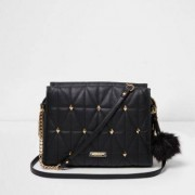 River Island Womens Black quilted cross body studded chain bag
