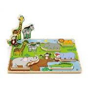 Hape - E1451 - Puzzle En Bois - Vertical - Les Animaux Sauvages
