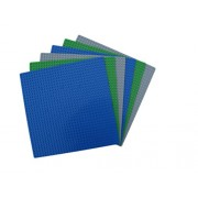 6 Lego Compatible Baseplates, Blue, Green, Gray - 2 each, 10 by 10, tight fit with all Lego sets