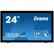 "Monitor VA LED iiyama 23.6"" T2435MSC-B1, Full HD (1920 x 1080), HDMI, DVI-D, DisplayPort, 6 ms, Touchscreen, Boxe (Negru)"