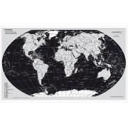 Wereldkaart The World Zilvereditie 63 x 96 cm   Stiefel