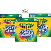 Crayola Ultraclean Broadline Classic Washable Markers (10 Count), (Pack of 3)