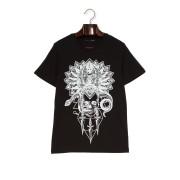 【73%OFF】プリント クルーネック 半袖Tシャツ ブラック s ファッション > メンズウエア~~その他トップス