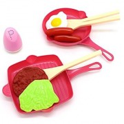 Little Treasures Children's Cooking Breakfast Playset Includes a Grill Pan Saute Pan 3 Kind of Ladles and a Spice Bottle Food Toys Consist of Bacon Beef Patty Salad Leaf and Cooked Egg