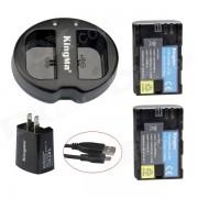 KIT100 Chargeur USB 2-Slot + 2 piles LP-E6 + US Plug Dual USB Wall Charger Set pour Canon