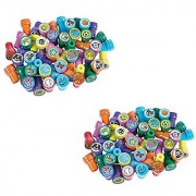 TwiceBooked Plastic Stamper Assortment - Two Boxes of 50 Each - Total of 100 Assorted Party Stampers