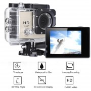 Cámara Deportiva Q2 LCD 1080P Waterproof Sports Camera US PLUG-Dorado(CX)