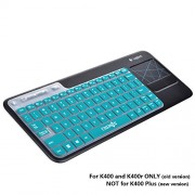 Cosmos ® Aqua Blue Ultra Thin Silicone Soft Keyboard Cover Skin for Logitech Wireless Touch Keyboard K400 and K400r (NOT for K400 Plus)