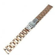 Fitian 16mm Stainless Steel Watch Band for Moto 360 2 (2nd Gen Woman) Push-button Hidden Clasp Champagne Rose Gold Meta