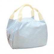 Outtop Stripes Oxford Cloth Insulated Tinfoil Cooler Thermal Picnic Lunch Bag-Travel Zipper Organizer Box (Blue)