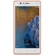 "Telefon Mobil Nokia 3, Procesor Quad Core 1.3 GHz, IPS LCD 5.0"", 2GB RAM, 16GB Flash, 8MP, Wi-Fi, 4G, Dual Sim, Android (Alb/Auriu) + Cartela SIM Orange PrePay, 6 euro credit, 4 GB internet 4G, 2,000 minute nationale si internationale fix sau SMS national"