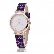 Oanda KEZZI Ke Nuevo Estilo Popular Retro Púrpura De La Raya De La Correa De La PU Del Dial Del Reloj Reloj De Diamantes De La Moda Pop Coreano (multicolor)