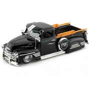 1951 Chevy Pick Up Truck W/ Wired Wheels 1/24 Black Antique Toy Trucks Jada Toys Diecast