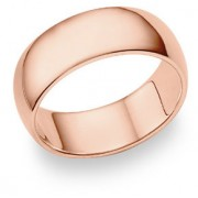 14K Rose Gold Comfort Fit Wedding Band Ring (8mm)