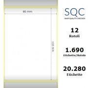 Etichette in carta patinata di colore bianco, formato 80 x 110 mm.