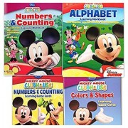 Mickey Mouse Clubhouse Workbook and Flashcard Learning Bundle (Set of 4) includes (1) Numbers & Counting Learning Flash Cards + (1) Colors and Shapes Learning Flash Cards + (1) Alphabet Learning Workbook + (1) Numbers and Counting Learning Workbook