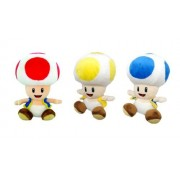 Little Buddy Super Mario Plush Doll Set of 3 - Toad, Yellow Toad & Blue Toad by Little Buddy