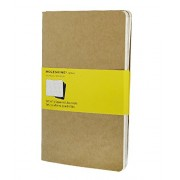 Moleskine Set de 3 cahiers quadrillés Grand format Couverture souple 13 x 21 cm Couleur Kraft