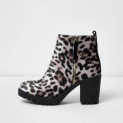 River Island Womens Brown leopard print chunky boots