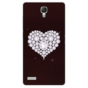 PrintHaat Designer Back Case Cover for Xiaomi Redmi Note :: Xiaomi Redmi Note 4G :: Xiaomi Redmi Note Prime :: Xiaomi Redmi HM Note 1LTE (diamond in heart :: sparkling diamonds :: lovely heart on brown stripes background)