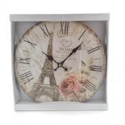 Ceas de perete din lemn cu Turnul Eiffel si flori roz