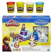 Play-Doh Sled Adventure Playset Featuring Disneys Frozen Elsa Anna Sven and Olaf Plus Extra Play-Doh 4-Pack of Colors