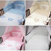 3 piezas ropa de cama de bebé de juego de copas de (cartucho de tinta para ajuste de uno o dos cama y espuma con funda extraíble y espuma con funda extraíble) - diseño de bordado de copos de nieve y corazones beige Talla:cuna - 120 x 60 cm