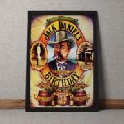 Quadro Decorativo Jack Daniels Bithday Vintage 35x25
