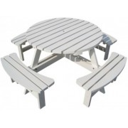 City picknicktafel rondo wit 185 cm