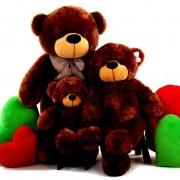 2 Feet, 3.5 Feet and 5 Feet Brown Bow Teddy Bear Family
