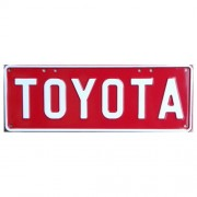"""Novelty Number Plate - Toyota - White On Red"""