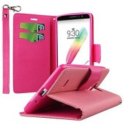 MPERO LG G Stylo Wallet Case [Flex Flip 2] Stand Cover with Card Slots and Wrist Strap (Pink / Hot Pink)