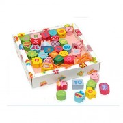 StarMall Wooden 36-Piece Toy Threading String Lace Hand Lacing Beads in a Box