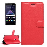 Huawei P8 Lite (2017) & P9 Lite (2017) & Honor 8 Lite Litchi Texture Horizontal Flip Leather Case with Magnetic Buckle & Holder & Card Slots & Wallet (Red)