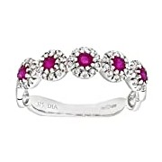 Naava Eternity Ring, 9 ct White Gold Diamond and Ruby Ring, Pave Set