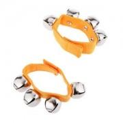 Banggood 1Pair Yellow Jazzy Jingles 4 Bells Children Wrist Bell Hand Ringing Bracelet