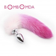 Fox Tail Metal Anal Plug Tail Butt Plug With Gradient Color Adult Toys Anal Sex Toys For Woman