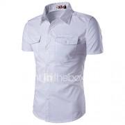 Heren Eenvoudig Zomer Overhemd,Casual/Dagelijks Werk Grote maten Effen Klassieke boord Korte mouw Katoen Rayon Dun