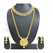 Golden Long Double Stone Jhumka Necklace Set