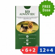 K9 Advantix Small Dogs/Pups 1-10 Lbs (Green) 12 Dose + 4 Doses Free