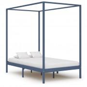 vidaXL Рамка за легло с балдахин, сива, бор масив, 120х200 см