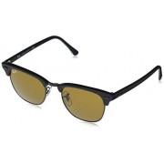 Ray-Ban Clubmaster Square Sunglasses,Matte Black/Brown, 49 mm
