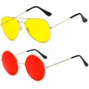 SRPM Aviator, Round Sunglasses(Yellow, Red)