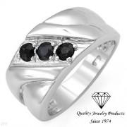 Дамски сребърен пръстен с естествени сапфири
