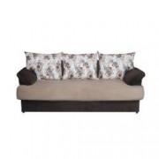 Canapea 3 locuri extensibila si lada depozitare Catalina lungime 2m Bej/Maro cu flori Veron5-1