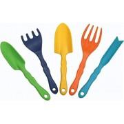Kids Gardening Tools For Toddlers 5 Piece Garden Tool Set: Trowel, Transplanter, Cultivator, Fork and Weeder Garden Tools For Fun Gardening Activity by HGB