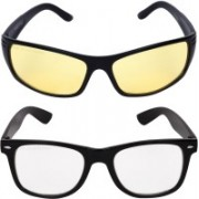 Criba Wayfarer, Retro Square Sunglasses(Yellow, Clear)
