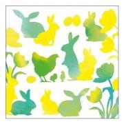 Ambiente 40x Pasen servetten geel/groen met dieren - Feestservetten